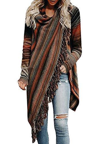 Minetom Mantel Damen Poncho Cape Mit Rollkragen Pullover Unregelmäßig Stricken Pullover Sweater Top Winter Strickpullover Gestrickt Umhang A Orange DE 44