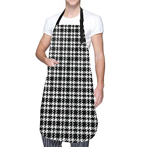 DAHALLAR Ajustable Colgante de Cuello Personalizado Delantal Impermeable,Azulejo de tartán de pata de gallo blanco y negro,Babero de Cocina Vestido para Hombres Mujeres con 2 Bolsillos Centrales