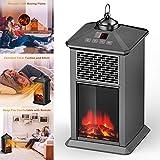 Heating Chimenea Eléctrica Calefactor Tipo Estufa de Pie con Efecto de Leña Ardiendo con Temporizador, Control Remoto, Retro,Black