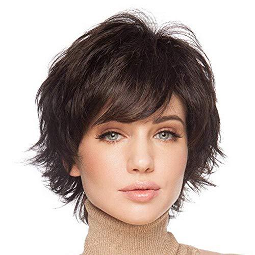 HAIRCUBE pelucas de pelo corto para mujeres con flequillo peluca de cabello humano natural Castaño