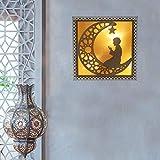 Ramadan Lamp,Wooden Eid Mubarak DIY Ornamentseid - Decorations Ramadan Eid Moon Ornament LED Night Light,No Battery