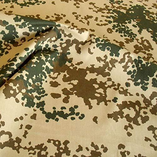 TOLKO Camouflage Stoff aus Baumwolle | Robust, Farbecht und UV-beständig | Uniform Meterware im Tropen Flecktarn der Bundeswehr | mittelschwer 160cm breit (Bundeswehr Wüste)