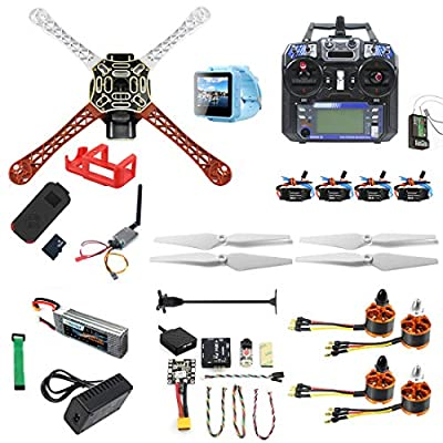 QWinOut DIY RC Drone Kit F450-V2 FPV Quadcopter with Mini PIX Mini GPS Q6 4K Wide Angle Action Camera FPV Watch/FPV Goggles Full Set Drone Kit (FPV Watch Version)