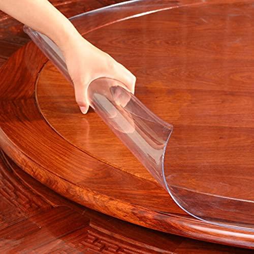 DTDMY Protector de Mantel de plástico Redondo Transparente, Resistente al Agua, Resistente a Las Manchas, Cubierta de Mesa de Vinilo, Cubierta de Mesa Gruesa para Cena, Vacaciones, Buffet, Exterior