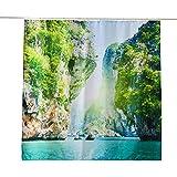 ENCOFT Duschvorhang 240 x 200 cm aus 100prozent Polyester mit 12 Duschvorhangringe für Badezimmer Wasserabweisend & Anti-Schimmel