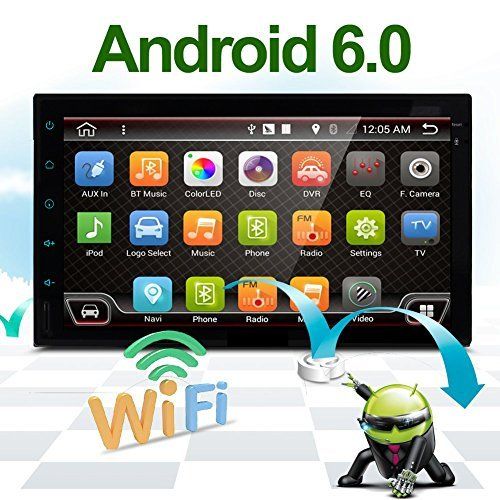 """Best WiFi Model Android 6.0 Quad-Core 7"""" Full Touch-Screen Universal Car NO DVD Player GPS 2 din Stereo GPS Navigation Free Camera and map"""