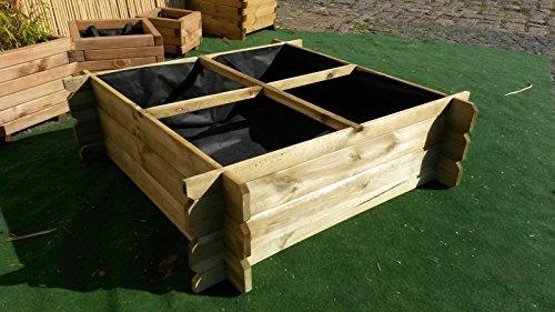 BIHL - Hochbeet 100 x 100 x 30 Holz Stecksystem Kräuterbeet Komposter Holzkomposter