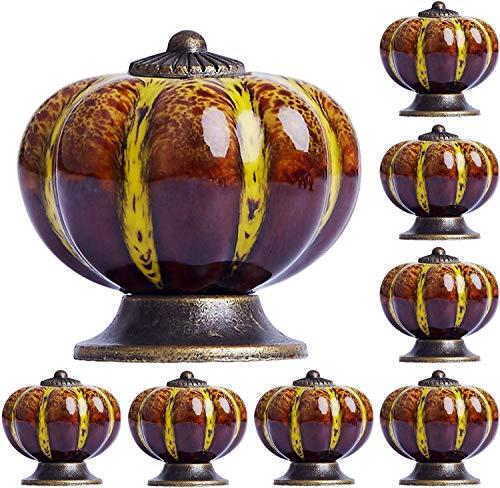 Pomelli per comò in ceramica, stile vintage, con zucca, per armadietti, cassetti, armadi, armadi, per casa, cucina, bagno, ufficio e molto altro ancora, con 3 tipi di viti (giallo)