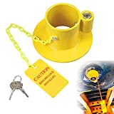 KAYCENTOP King Pin Lock 5th Wheel Locks Trailer Hitch Lock Heavy Duty Fifth Wheel Kingpin Lock Towing Hitch Lock Anti Theft Steel with Yellow Caution Tag for Trailers Rv