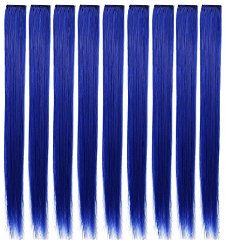 RYE 9 Pcs Colored Hair Extensions Christmas Halloween Party Highlights Clip in Blue Hair Extensions 21 inch Straight Synthetic Blue Hairpieces for Kids Girls Women Wig Pieces (Sapphire blue)