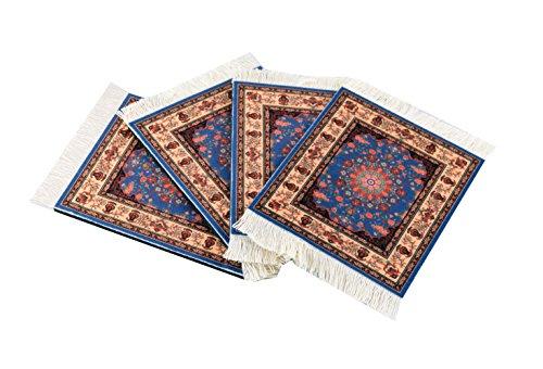 Inusitus Set van 4 onderzetters met tapijt patroon kleurrijke onderzetters glas, tafel en baronderzetters - meerkleurig