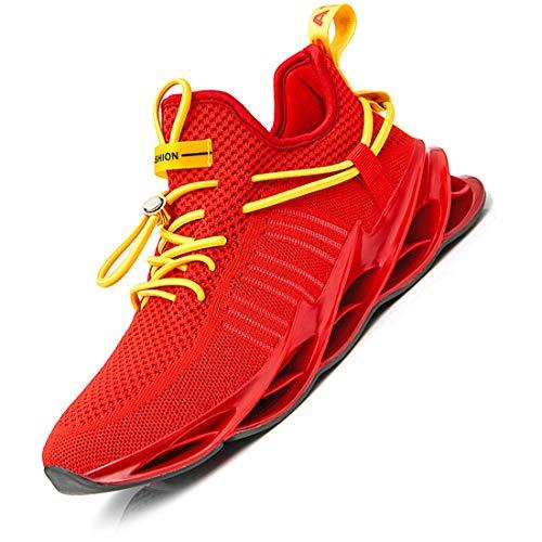 Damyuan Herren Laufschuhe Turnschuhe Sportschuhe Sneaker Running Tennis Gym Schuhe Freizeit Straßenlaufschuhe Leichtgewichts Atmungsaktiv Walkingschuhe Outdoor Fitness Jogging Schuhe Rot 43 EU