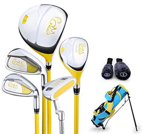CRESTGOLF PGM Pickcat Kinder-Golf-Set, 5 Schläger mit Golftasche und 2 Schlägerhauben (gelb, (9–12 Jahre), 130–150 cm hoch)
