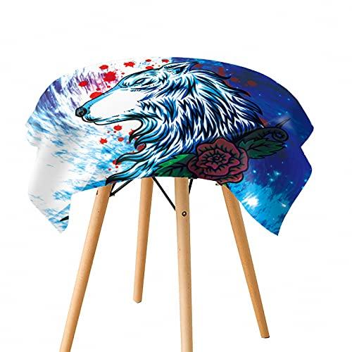 Papel Pintado De Lobo con Impresión Digital 3D Mantel Individual A Prueba De Aceite Lavable Engrosado Mantel Grande Adecuado para Sala De Estar, Comedor Y Jardín