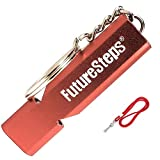 FUTURESTEPS Survival Whistle, Emergency Safety, Loud for Hiking, Storm, Camping, Boating, Dog Training with Lanyard - 120 Decibels - Red Color - 36 Inch Lanyard