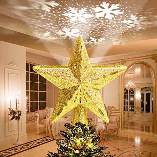 Avoalre Luci LED Albero di Natale con Fiocco di Neve Rotante Luci Proiettore LED Decorazione Albero di Natale Scintillio Stella Proiettore di Luce per Casa Ufficio Bar Hotel - Oro