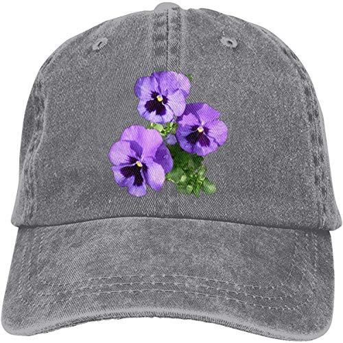 N \ A Baseballkappe mit Stiefmütterchen und Blumen, Unisex, klassisch, verstellbar, Schwarz