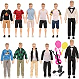 SOTOGO 31 Pieces Kens Clothes and Accessories for 12 Inch Boy Doll Include 12 Sets Doll Clothes/ Casual Clothes/Career Wear Clothes/Jacket Pants Outfits, 4 Pairs Shoes, Tennis Racket and Violin