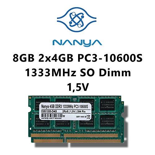 Nanya Hynix Samsung Elpida Micron je nach Verfügbarkeit 8GB (2x 4GB) Dual-Channel Kit DDR3 1333MHz (PC3 10600S) SO Dimm Notebook Laptop Arbeitsspeicher RAM Memory