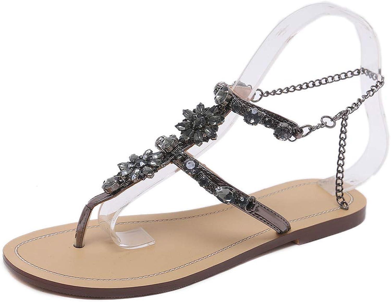 Women Sandals Light Women shoes, Rhinestone Flat Sandals Ladies shoes Woman Flip Flops Comfort Female Plus Size Footwear,BlackB,5US