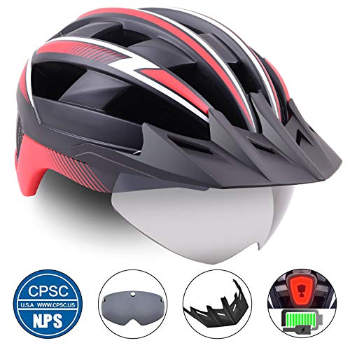 Basecamp Bike Helmet Men/Women,Bicycle Helmet CPSC/CE Certified with USB Rare Light&Magnetic Goggles&Sun Visor&Carry Bag Cycling Helmet BC-023 Adjustable Size for Adult Road/Mountain