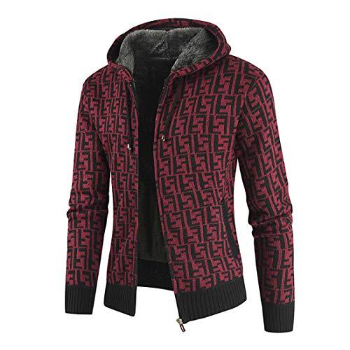 MENHG Men's Cardigan Hoodies Plaid Hoody Thick Warm Fleece Cotton Knitted Pullover Men Long Sleeve Full Zip Drawstring Hooded Casual Retro Classic Sweater Sweatshirt Jacket Outwear Coats Tops Jumper