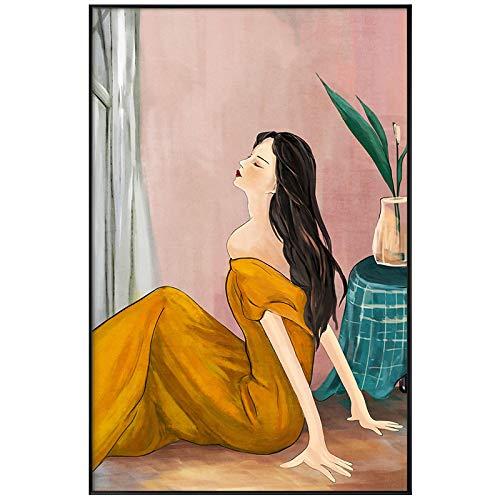 Gymqian Vestido Amarillo para niñas Pintura de Lienzo Creativa Carteles e Impresiones Figura Retro Arte Imagen de Pared para Dormitorio Moderno Decoración para el hogar Mural-60x90cm Sin Marco