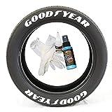 Tire Stickers Goodyear con pie de ala – Kit de letras de goma permanente para neumáticos con pegamento y limpiador de retoque de 2 onzas, ruedas de 19 – 21 pulgadas, color blanco, paquete de 8