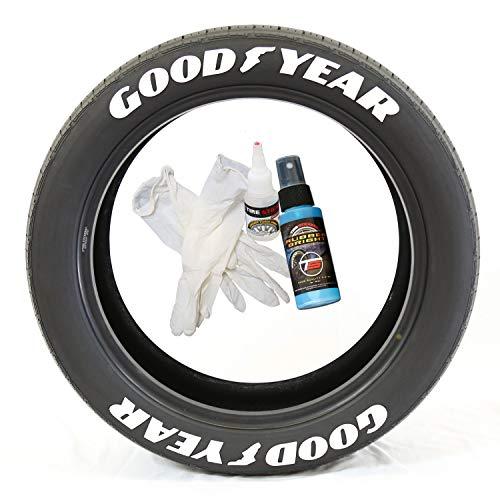 Tire Stickers Pegatinas para Llantas Goodyear con pie de ala – Kit de Letras de Goma Permanente para neumáticos con Pegamento y Limpiador de retoque de 2 oz (Paquete de 8)