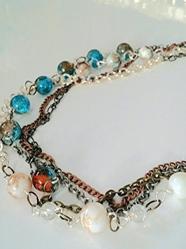 she's Trouble 'I Want it All' choker necklace. Multi chain with glass beads and sterling silver accents.