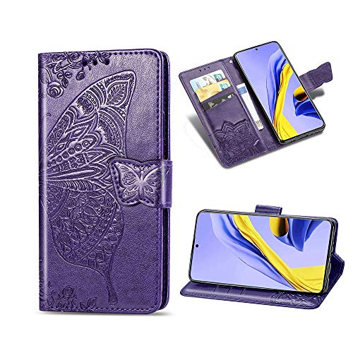 KISME für Xiaomi Mi Note 10 Lite Lederhülle,Magnetische PU Leder Flip Wallet Tasche mit Ständer Kartensteckplätze Protective Hülle Handyhülle für Xiaomi Mi Note 10 Lite-Lila