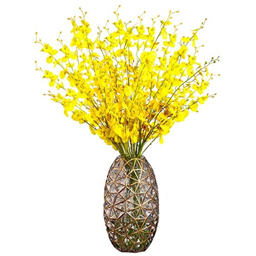 ZXL 34 cm hoge glazen bloemenvaas met kunstbloemen, hydroponische vaas, elegant en creatief, ideale decoratie voor kantoor en huwelijksfeest thuis, bruin/lichtblauw (kleur: D)