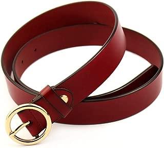 Women's Belt Women's Leather Ring Pin Buckle Belt Women's Leather Belt Jeans Belt (Color : Red, Size : 120CM)