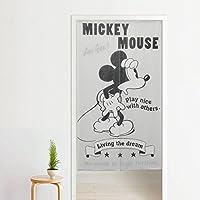 メール便発送 日本製 ちょっぴりレトロでモダンなミッキーが可愛いディズニーのれん 85cm×150cm ディズニー 目隠し タペストリー ジャガード織 キャラクター 子供部屋 ブラック