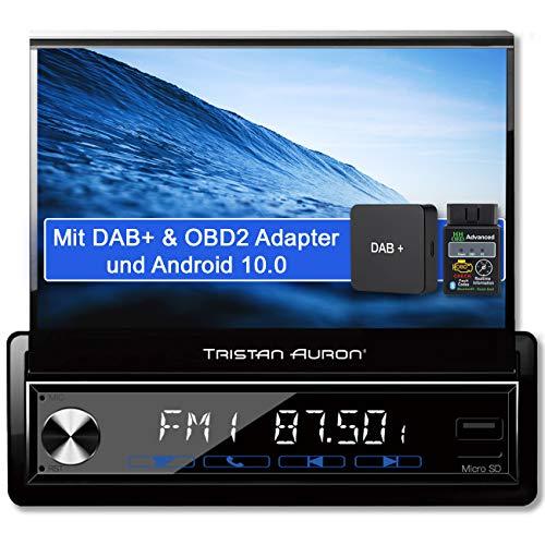 Tristan Auron BT1D7027A Android 10 Autoradio + DAB Plus und OBD 2 Box I 32GB ROM I 7'' Touchscreen I GPS Navi I Bluetooth Freisprecheinrichtung USB SD I 1 DIN