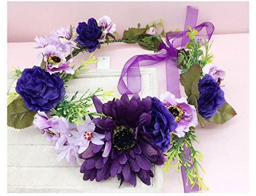 & Coiffe des fleurs de la Couronne Couronne de fleurs, Bandeau Fleur Garland Fête de mariée à la main à la main Fait bande Bandeau Bracelet Bande de cheveux couronne de couronnes de fleurs ( Couleur : E )