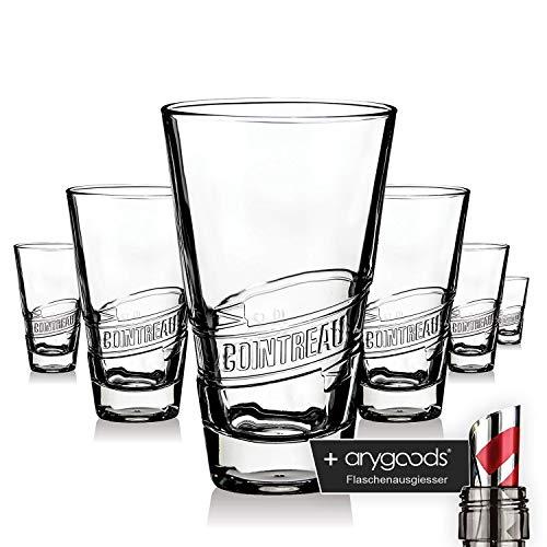 6 x Cointreau Glas Gläser Likör Relief Design Longdrink Cocktail Gastro NEU + anygoods Flaschenausgiesser