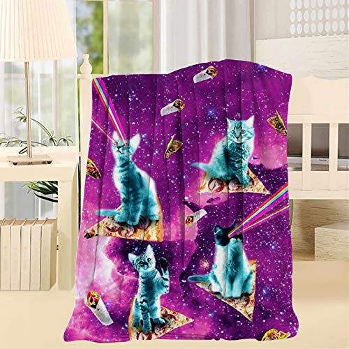 2183 Manta de gato con ojos láser arco iris - Manta divertida, cálida, ligera, suave, manta de lana en la cama o sofá individual 60 x 80 pulgadas