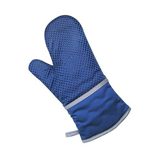 XUQIANG Silikon-Isolierung Handschuhe Backofen Verbrühschutz Hochtemperatur-Backen Grill (Color : Blue)