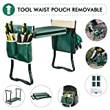 Garden Kneeler and Seat, with 2 Bonus Tool Pouches - Adjustable Belt Tool Pounch - Portable Garden Bench EVA Foam Pad with Kneeling Pad - Sturdy, Lightweight and Practical - Protect Knees and Clothes