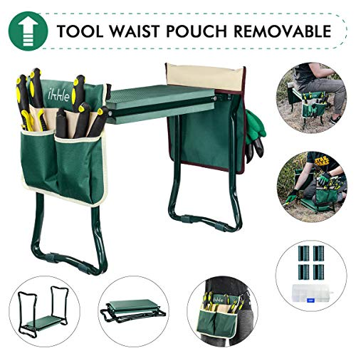 Garden Kneeler and Seat with 2 Bonus Tool Pouches  Adjustable Belt Tool Pounch  Portable Garden Bench EVA Foam Pad with Kneeling Pad  Sturdy Lightweight and Practical  Protect Knees and Clothes