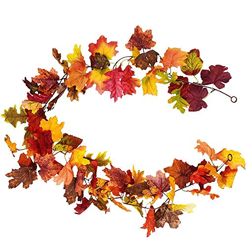 Esoes 1 PCS Fall Maple Leaf Garland - 173CM Artificial Foliage Garland Autumn Hanging Fall Leave Vines for Indoor Outdoor Wedding Thanksgiving Dinner Party Decor (Mid Autumn)