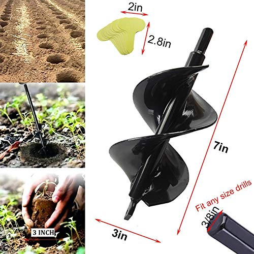 Auger Drill Bit 3x7in Garden Totally Solid Barrel Dual-Blades Plant Flower Bulb Auger Spiral Hole Drill Rapid Planter Earth Post Umbrella Hole Digger for 3/8