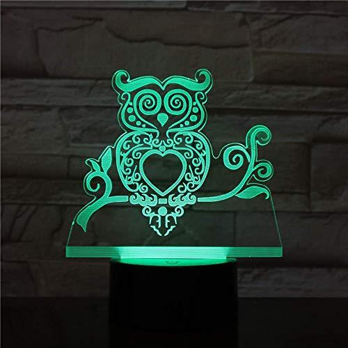 LWJZQT Nachtlampje, 3D 7 kleuren, kleurverandering, hologram-verlichting, animatie, vogel, schattig nachtlampje, USB-decoratie