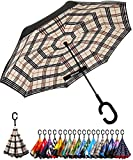 BAGAIL Double Layer Inverted Umbrella Reverse Folding Umbrellas Windproof UV Protection Big Straight Umbrella for Car Rain Outdoor with C-Shaped Handle (Beige Plaid)