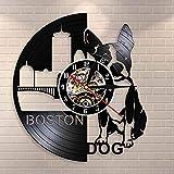 UIOLK Boston Terrier Horloge Murale Chien animalerie enseigne Peinture Chien Race Bouledogue français Disque Vinyle Horloge Murale Chiot Chien propriétaire Cadeau