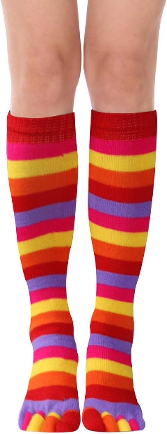 Womens Girls Funny Novelty Rainbow Toe Socks Colorful Striped Fun Crazy Cute Knee High Christmas Leg Warmer
