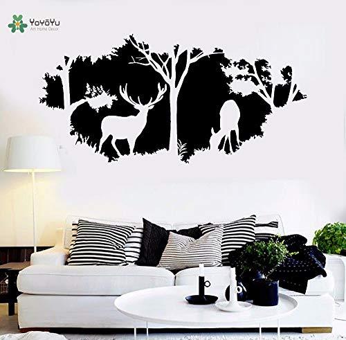 YIYEBAOFU Vinilo Tatuajes de Pared Ciervos Animal árbol Naturaleza Interior Simple salón Artista decoración del hogar Etiqueta de la pared85x177cm