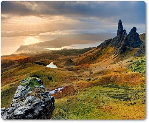 Merchandise for Fans Mauspad/Mouse Pad aus Textil mit Rückseite aus Kautschuk rutschfest für alle Maustypen Motiv: Schottland Isle of Skye Landschaft[ 04 ]