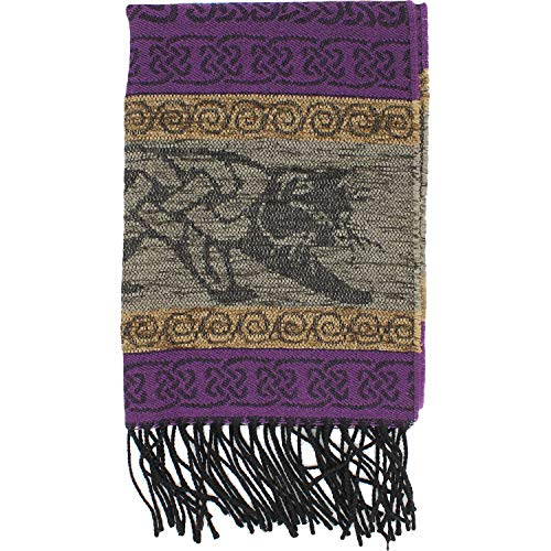 The Celtic Ranch Detailed Woven Celtic Scarf, Women's Fringe Scarf, Wool and Acrylic Blend, 15 Inches x 62 Inches, (Purple Celtic Cat)